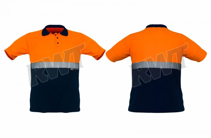 GOLFSHIRT – two tone orange navy RWT SA Shop Online