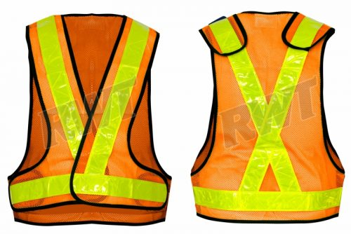 WAISTCOAT JACKET – airtex orange with non conforming lime vinyl tape RWTSA shop online