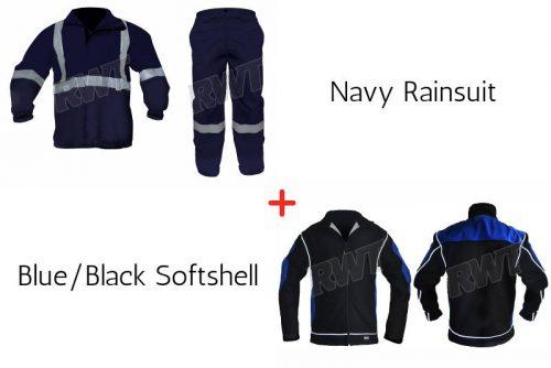 Blue black softshell and navy rainsuit combo RWT reflective wear speacial shop online